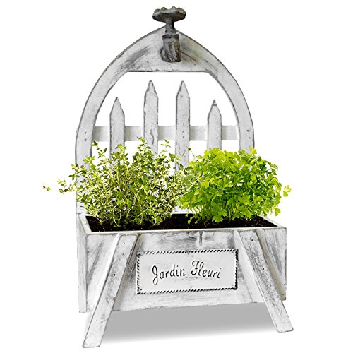 Vaso Set coltivazione Set con prezzemolo e timo 24x 13,5x 40cm-erbe giardino fioriera stanza serra da giardino legno Shabby Chic, colore bianco