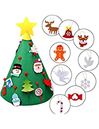 AMUSTER 3D DIY Christmas Tree Felt Toddler Christmas Tree New Year Kids Gifts Toys Playtime Kids Tree