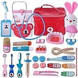 YAKOK 25er Holz Arztkoffer Kinder, Arztkoffer Holz Spielzeug Arzt Spielzeug mit Stethoskop Zahnarzt Spielzeug für Kinder Kleinkind Junge Mädchen ab 2-6 Jahre