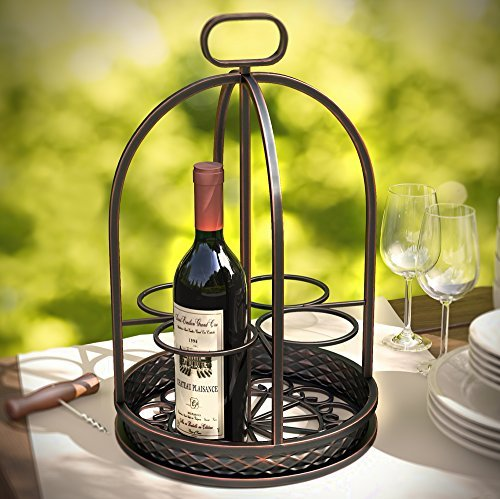 Clairemont Countertop Wrought Iron Metal Wine Rack 4 Bottle Holder by Stratford Home (Bar Server Mobili)