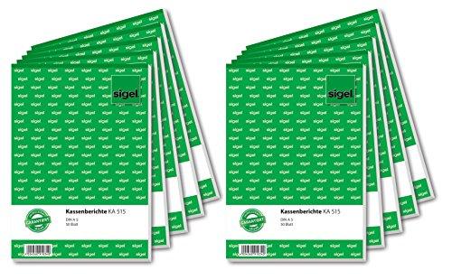 Sigel KA515/10 Kassenbericht A5, 10 Stück á 50 Blatt