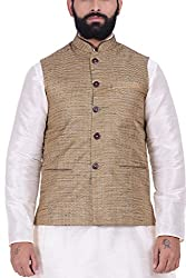 Kisah Khadi Jaquard Brown Mens Nehru Jacket
