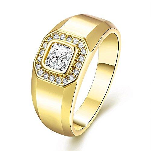 Uloveido Fashion Square Zirkonia Gold Wedding Band Ring für Männer Geburtstagsgeschenke für Freund Größe 59 (18.8) KR204 (Band Square Ring)