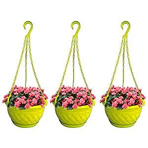TrustBasket Colourful Plastic Hanging Basket with Bottom Saucer (Yellow) - Set of 3