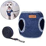 Kleine Hunde Geschirr, Legendog Niedlich Denim Hundeleine Harness Hundegeschirr mit Leine Set für Hunde Welpen (S-L)