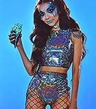 Sallypan Damen Bikini Badeanzug 2 Stück, Rave Crop Top & Booty Shorts Unterteile Metallic Silber Hologramm Outfit für Sommer Musical Festival Bar,M