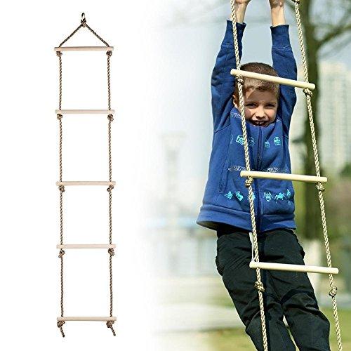 Lelestar Cuerdas Escalera Colgantes de Madera Columpios Infantiles Exteriores para Niños Juguetes Deportivos para Niños Exteriores