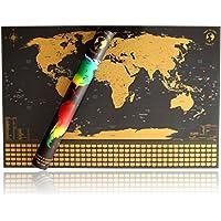 Rubbel Weltkarte Made in Germany - Landkarte zum Rubbeln inkl. Geschenkverpackung - Poster XXL zum Freirubbeln (Gold / Schwarz 84 x 55 cm Englisch)