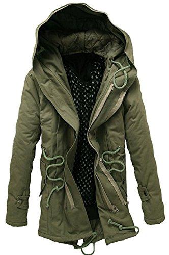 JZWXX Hommes Mode grand manteau Chapeau Automne Hiver Épaissir capuche Veste longue parka MY369FR Vert
