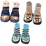 SWEETBB 3 Paare Baby Hüttenschuh, Cartoon Anti-Rutsch Boden Socken, 11-15 cm, 0-24 Monate, Junge (6 - 18 Monate)