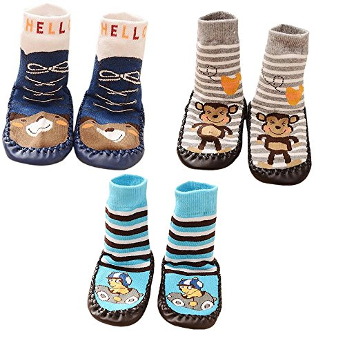 SWEETBB 3 Paare Baby Hüttenschuh, Cartoon Anti-Rutsch Boden Socken, 11-15 cm, 0-24 Monate, Junge (0 - 6 Monate)