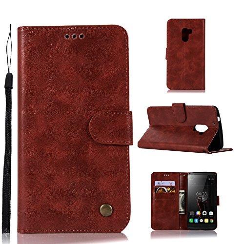 kelman Hülle für Lenovo A7010 / Lenovo Vibe K4 Note Hülle Schutzhülle PU Leder + Soft Silikon TPU Innere Schale Brieftasche Flip Handyhülle - [JX01/Weinrot]