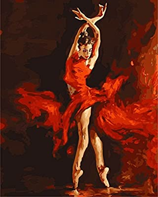 Paint by Numbers with Frame or Not, New Release Diy Oil Painting by Numbers Kits - Shadow Fire Dancer Queen 16*20 inches - Digital Oil Painting Canvas Kits Junior for Adults Children Kids with 3X Magnifier - Wall Art Artwork Landscape Paintings for Home L