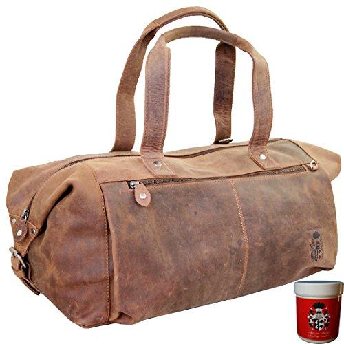 BARON of MALTZAHN Sporttasche Reisetasche BATTUTA aus braunem Leder + Lederpflege