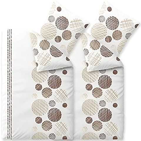 4-tlg. Sommer Bettwäsche 135x200 Baumwolle, Trend Cleo Kreise Streifen weiß