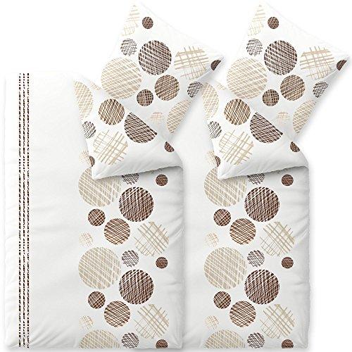 aqua-textil Bettwäsche 4tlg 135x200 Baumwolle Set Kopfkissen Bettbezug Reißverschluss atmungsaktiv Bett 80x80 Kissen Streifen Punkte Kreise braun beige natur weiß grau schwarz 2000154 Trend Cleo