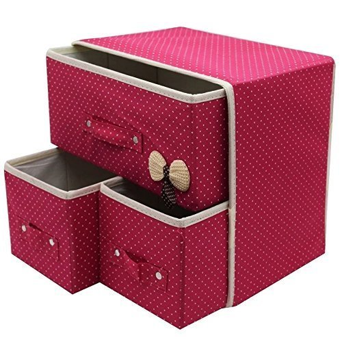 Krupalu Foldable 3 Drawer Fabric Storage Bins Organizer for Home, Kitchen and Office - 1 Pc (Multi Color)