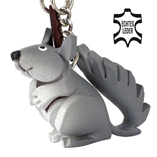 Monkimau Eichhörnchen Leder Schlüssel-Anhänger Deko-Figur Charm Geschenk-e Kind-er Mädchen Damen