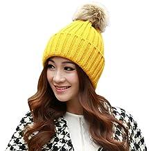 eea610f08a626 Tefamore Sombrero de las mujeres Invierno Bolso de piel de gallo caliente  Gorro de lana de
