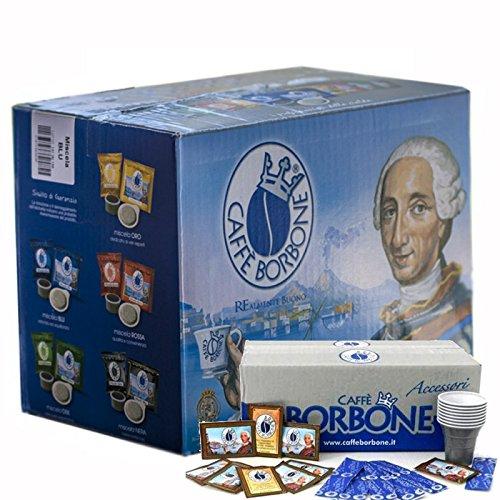 CAFFE BORBONE MISCELA BLU DA 150 CIALDE + KIT ZUCCHERO E BICCHIERI Confezione da 1PZ - Casa Casa Miscela Di Caffè