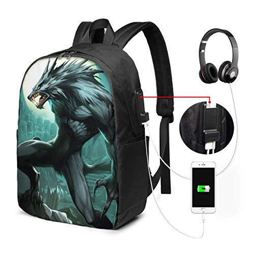 Werewolf2 Rucksack Rucksack Umhängetaschen Leichte Sporttasche zum Wandern Yoga Gym Schwimmen Travel Beach 17inches -