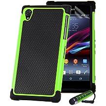 32nd® Funda Rígida Anti-Choques de Alta Proteccion para Sony Xperia Z (L36h / L36i / C6603) Carcasa Defensora de Doble Capa - Verde