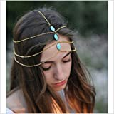 #7: ITS - Fashion Style Women Lady Turquoise Beads Metal Head Chain Jewelry Headband.