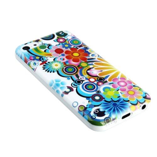 Kit Me Out FR Coque en gel TPU pour Apple iPhone 5C - multicolores cercles et fleurs multicolores cercles et fleurs