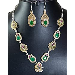 Gauri's Ruby Emerald Gemstone Turkish Victorian Silver Plated Necklace With Earrings Jewellery Set AIVNS517