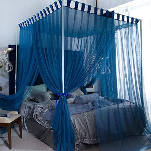 Slow Time Shop 4 Ecken Post Bed Canopy Bett Vorhänge verschlüsselt Palace Princess Moskitonetz für Mädchen Jungen Erwachsene Bett Geschenk - gemütliche drapieren Square Netting - 3 Öffnung, blau