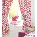 """NELLIE ELEPHANT FLOWERS GIRLS FULLY LINED CURTAINS SET 66"""" X 72"""" MATCHES DUVET"""