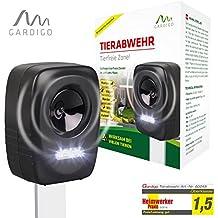 Gardigo 60048 - Repellente Ultrasuoni per allontanare cani, gatti, volatili, martore, procioni; Impermeabile A batteria; Puntale per interramento
