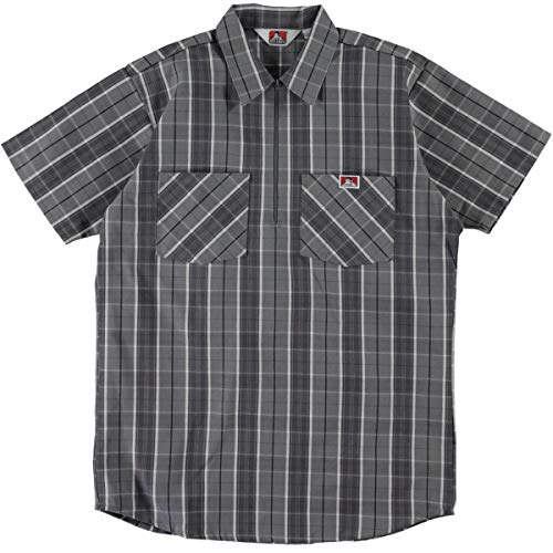 Ben Davis Short Sleeve Half Zip Work Shirt Plaid Grey Black - Ben Short Sleeve T-shirt