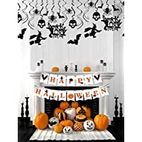 JeVenis Set of 2 Halloween Home Decor Haunted House Decorations Fall Halloween Party Bunting Rustic Halloween Banner Halloween Decor Halloween Party Sign Halloween Witch Decorations