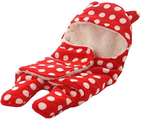 BRANDONN Newborn Sleeping Bag With Hood Cap For Babies(Envelope Red Polka)