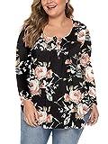 AMORETU Damen Bluse Blumen V-Ausschnitt Locker Shirt Floral Oberteile Schwarz 50