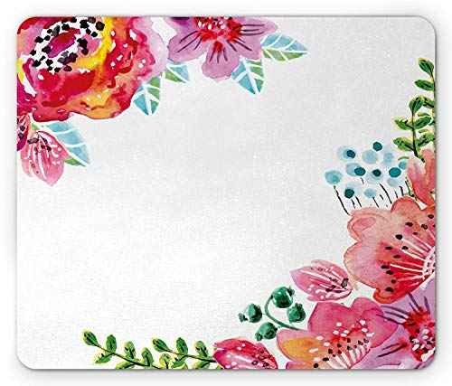 Floral Mouse Pad, Flourishing Spring Flowers and Leaves in Watercolors Frame Colorful Artistic Design, Standard Size Rectangle Non-Slip Rubber Mousepad, Multicolor
