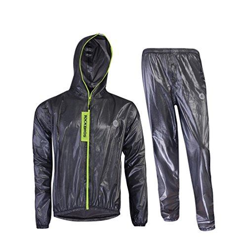 ROCKBROS Regenjacke Regenhose Set Wasserfest Fahrradjacke Atmungsaktiv Regen Anzug (Schwarz, Europäische Gr. L(Asiatische Gr. XL))