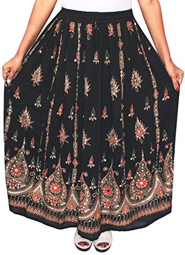 Lunga da donna Indian caviglia lunghezza India Clothing gonne paillettes Black 8
