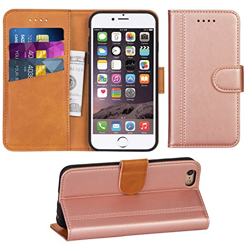 Adicase iPhone 6 Hülle Leder Wallet Tasche Flip Case Handyhülle Schutzhülle für Apple iPhone 6 / 6S 4,7 Zoll (Rose Gold)