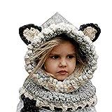 Formesy Inverno Bambino Caldo Coif Cappuccio Sciarpa Caps Cappello Earflap  Fox Scialli di Lana Lavorato a c958e381a098