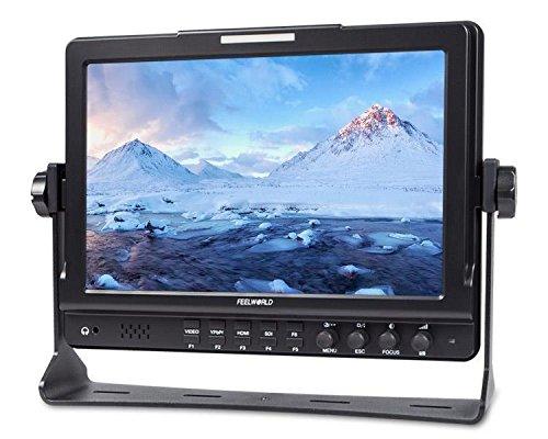Feelworld 10.1 Zoll IPS 3G-SDI Kamera Monitor HD-SDI Video Monitor HDMI und SDI Ausgang und Eingang zusammen mit Eingebaut Lautsprecher und Kopfhörer für Professionelle Field Shot
