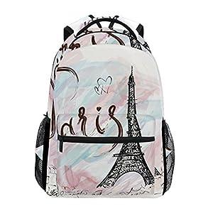 TIZORAX Paris Eiffel Tower – Mochila para el Colegio o la Universidad, para Senderismo, Viaje, para Mujeres y Hombres