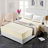 BBQBQ Protector de colchón Acolchado - Microfibra - Antiácaros - Transpirable,Cubierta de Cama de algodón Grueso de una Pieza, Color Beige, 150 * 190 cm