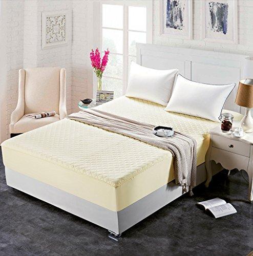 BBQBQ Wasserdicht Matratzenschoner/Matratzenauflage mit Aloe Vera behandelt, Atmungsaktiv,Hotel Einzelstück Dicke Baumwolle Bettdecke beige 200 * 200cm