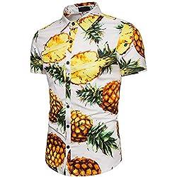 Camisa Hawaiiana Hombre Casual Estampado de Piña Manga Corta para la Playa, Fiestas, Verano y Vacaciones Blanco M