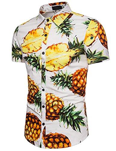 Herren Hemd Strandhemd Hawaiihemd Kurzarm Urlaub Hemd Freizeit Reise Hemd Party Hemd Ananas Weiß M (Hawaii-shirt Ananas)