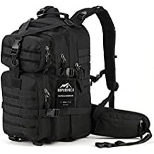 Military Tactical Assault Backpack, Hydration Backpack by RUPUMPACK, Army MOLLE Bug Out Bag, Small Rucksack for Outdoor Hiking Camping Trekking Hunting School Daypack 35L Black …