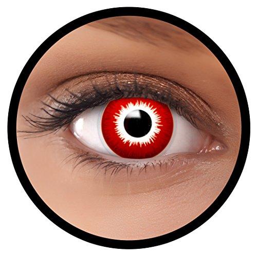 """Preisvergleich Produktbild FXEYEZ® Farbige Kontaktlinsen rot """"Bloody"""" + Linsenbehälter, weich, ohne Stärke als 2er Pack - angenehm zu tragen und perfekt zu Halloween, Karneval, Fasching oder Fasnacht"""