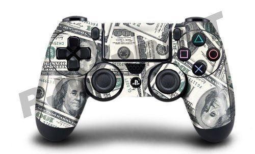 Playstation 4 (PS4) Controller/Gamepad Skin / Cover / Vinyl Wrap - 100 Dollar Bill Design (Pack of 2 Skins) by Cell Shell (2 Dollar Bill Case)